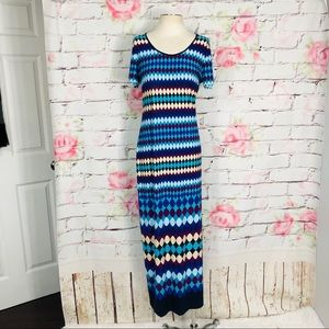 Calvin Klein patterned maxi dress w side slit